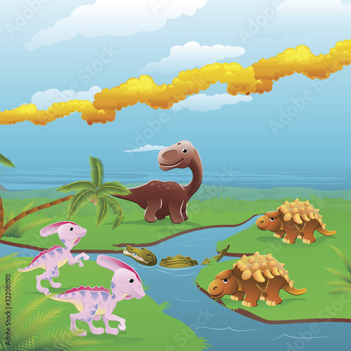 Photo sur Aluminium Dinosaurs Cartoon dinosaurs scene.