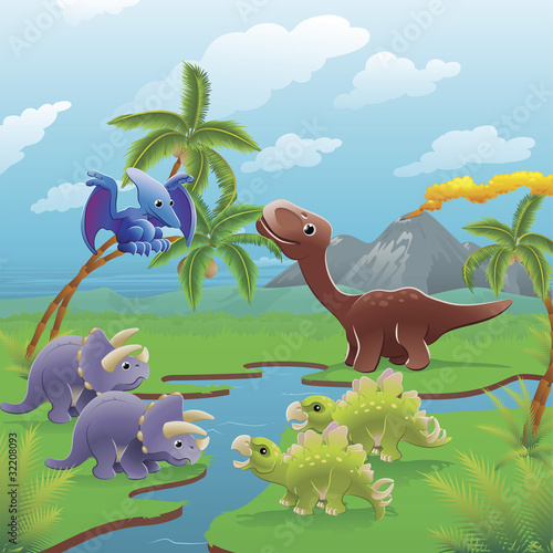 Spoed Fotobehang Dinosaurs Cartoon dinosaurs scene.