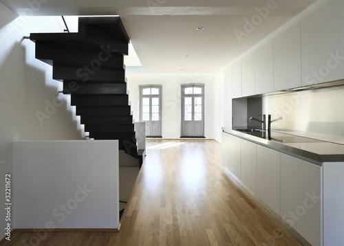 interno, scala e cucina moderna, design – kaufen Sie dieses ...