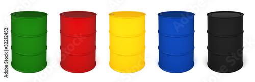 Fotografia Five colored barrels 3D render