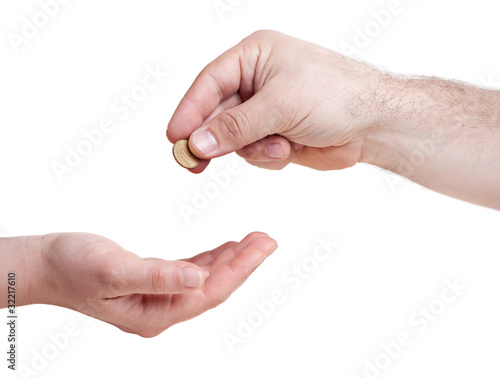 One Hand Giving 10 Cents Euro Coin To Other Hand Kaufen Sie Dieses