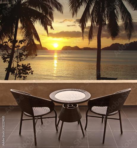 Fototapety, obrazy: Terrasse, vue mer et palmier