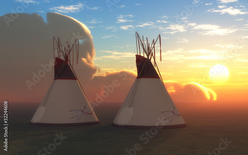 Fotobehang Indiërs Two Teepees at Sunset