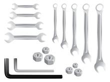 Set Of Stainless Spanners -realistic Illustration