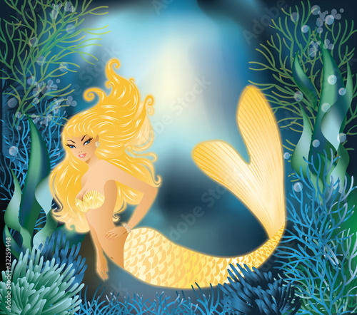 Poster Mermaid Pretty Gold Mermaid with underwater background, vector