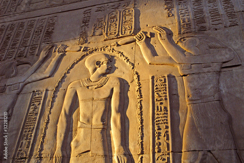 In de dag Egypte The Temple to Sobek, the crocodile god, Kom Ombo in Egypt