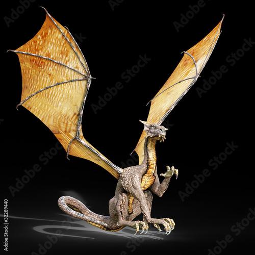 Poster Draken dragon attack black background