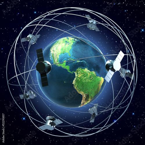 Obraz Satellites around earth - fototapety do salonu