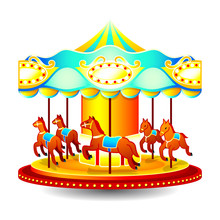 Small Classic Children Merry-go-round With Horses