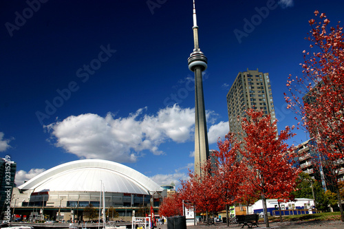 In de dag Toronto CN Tower and Roger Centre During Fall