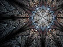 Cold Blue Fractal Abstraction, Spider Web Or Snowflake