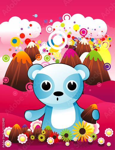 Poster Ours bear in abstract landscape vector