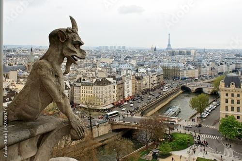 Notre Dame de Paris: Chimeras overlooking the skyline Wallpaper Mural