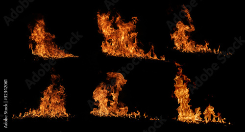 High resolution fire collection, isolated on black background Canvas Print
