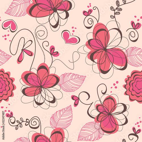 Tuinposter Abstract bloemen Pink romantic seamless pattern