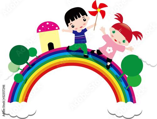In de dag Regenboog Illustration of children and rainbow