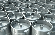 Beer Kegs Background. 3D Render.