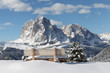 canvas print picture - Langkofel Berg der Dolomiten