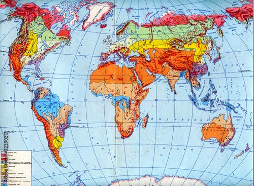 Poster Carte du monde Physical map