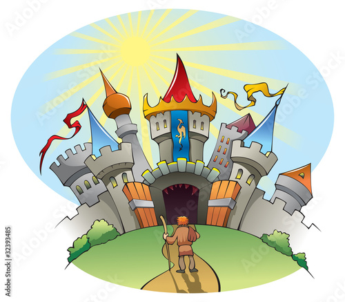 Photo Stands Castle A man standing before bright and jolly city, vector