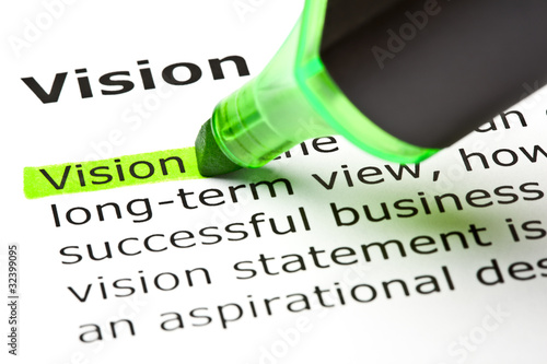 Dictionary definition of the word Vision highlighted in green - Buy