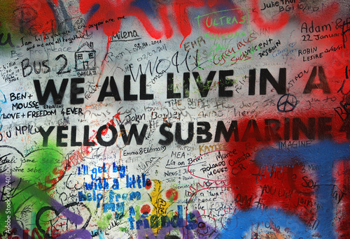 Photo  We All Live in a Yellow Submarine Graffiti