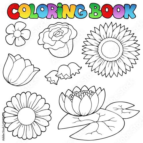 Türaufkleber Zum Malen Coloring book with flowers set