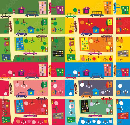 Poster de jardin Route the same street/ 4 seasons