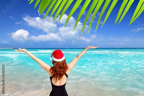 Foto op Plexiglas Caraïben santa woman tourist christmas caribbean vacation
