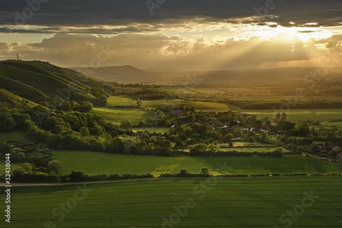 Fototapety, obrazy: Stunning sunset over countryside landscape