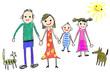 Leinwandbild Motiv kinderzeichnung familie mit haustieren