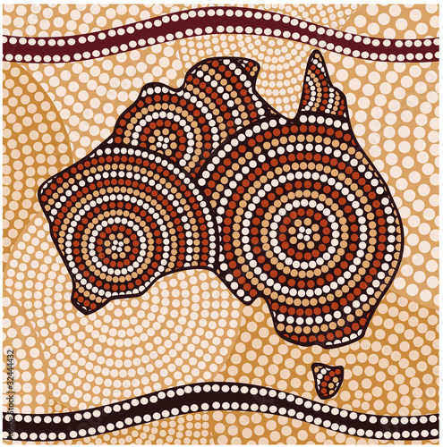Wallpaper Mural Map of Australia (painting in the Aboriginal style, abstract )