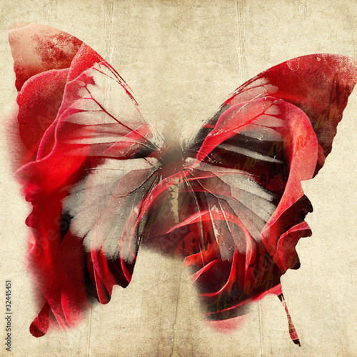 Fotobehang Vlinders in Grunge colorful abstract illustration with butterfly