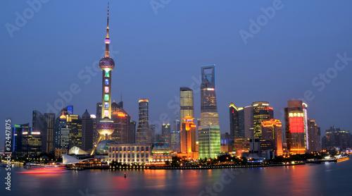 Photo Stands Shanghai Blick auf Shanghai am abend