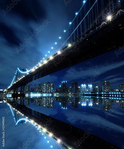 Manhattan Bridge At Night Lights, New York City