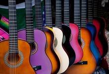 Row Of Multi-colored Mexican Guitars