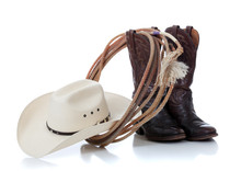 Cowboy Hat, Boots And Lariat O...