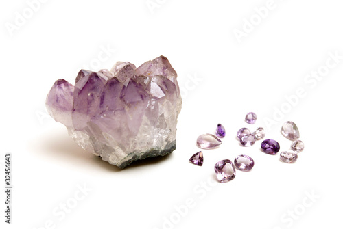 Tuinposter Natural Amethyst and Cut Gems