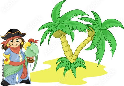 Photo sur Toile Pirates a desert island