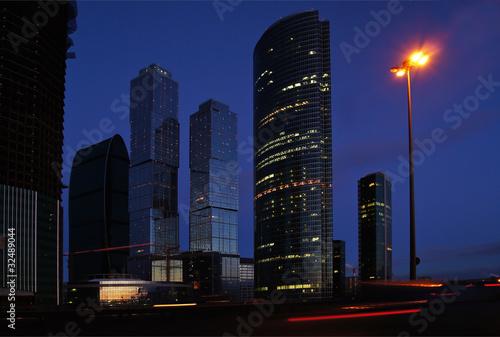 Foto op Aluminium New York Skyscrapers of Moscow. Evening.