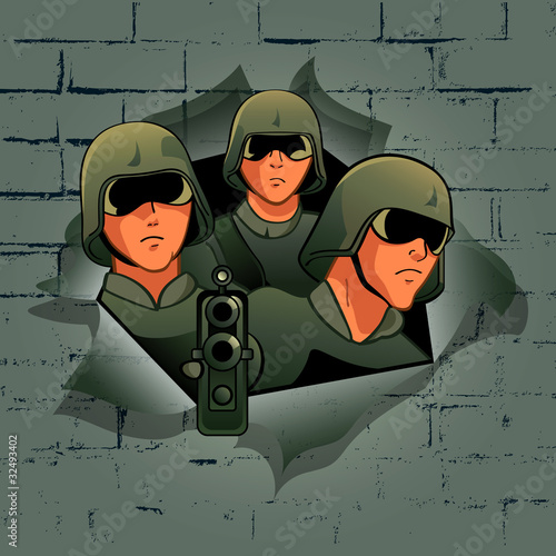 Poster Militaire Soldiers break through the bricks wall
