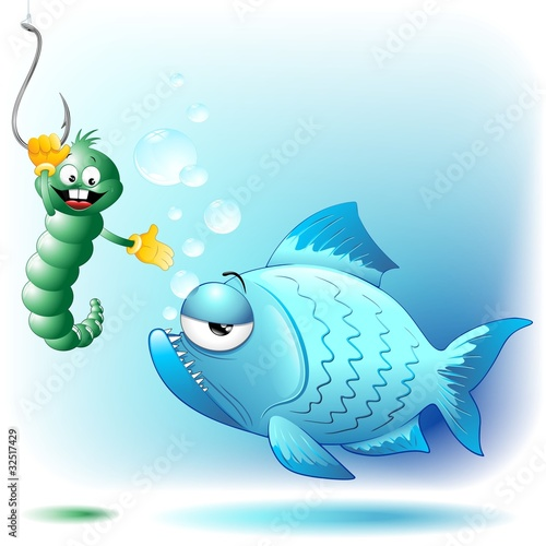 Pesce Verme e amo Cartoon-Fish Worm and Hook Background-Vector