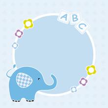 Marco Bebé, De Color Azul, Con Un Elefante.