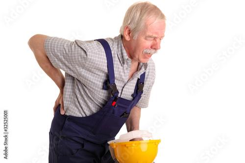 Fotografía  Handwerker mit Rückenschmerzen