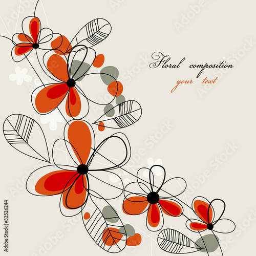 Montage in der Fensternische Abstrakte Blumen Cute red flowers background