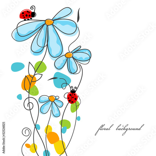 Deurstickers Abstract bloemen Flowers and ladybugs love story