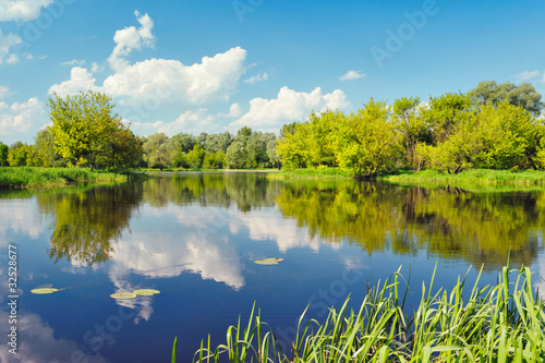 Aluminium Prints Blue Flood waters of Narew river, Poland. Beautiful wallpaper.