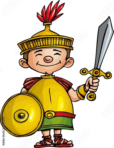 Poster Ridders Cartoon Roman legionary with sword and shield