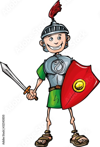 Ingelijste posters Ridders Cartoon Roman legionary with sword and shield