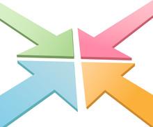 Four 3D Arrows Converge Point To Center